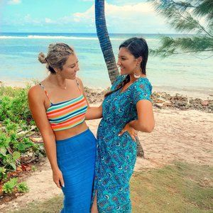 Blue Printed Button Up Maxi Dress with Slit